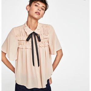 Zara ruffle crepe blouse with tie at neck
